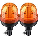 Justech 2PCs 60LED Luces de Emergencia Homologadas E9 Impermeable IP56 con 3 Modos de Brillo Estroboscópico/Flash Rápido/Rotación 12V 24V Luces Rotativas Ámbar de Advertencia para Remolque Camión