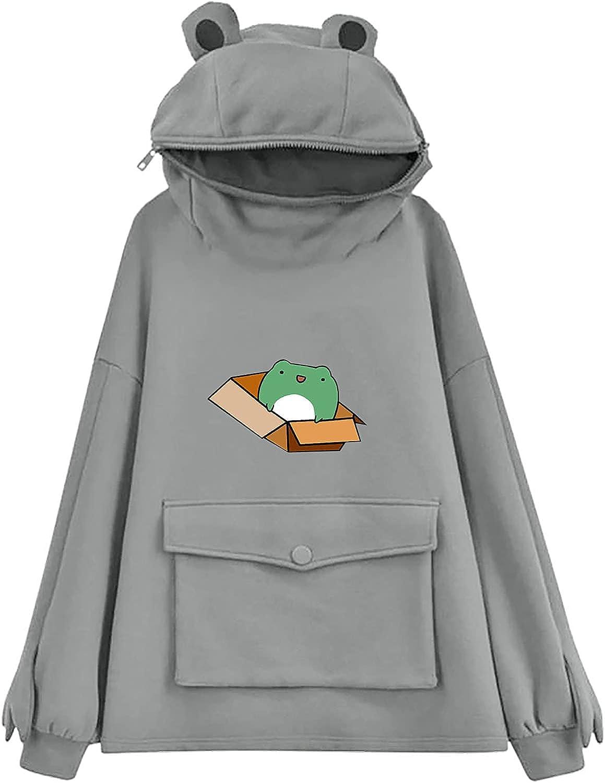Gerichy Hoodies for Women Teen Girls Cute Frog Printed Hoodies Hooded Sweatshirts Long Sleeve Fashion Pullover Tops