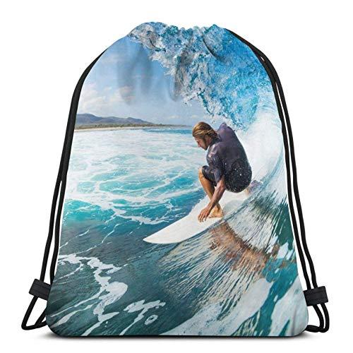 IUBBKI Surfer On Blue Ocean Wave In The Tube Mochila Con Cordón...