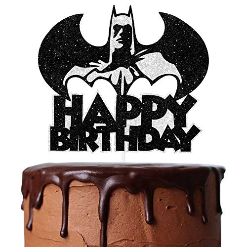Bat Superhero Cake Topper Black Silver Glitter Happy Birthday Bat Cartoon Theme Decor for Baby Shower Birthday Party…