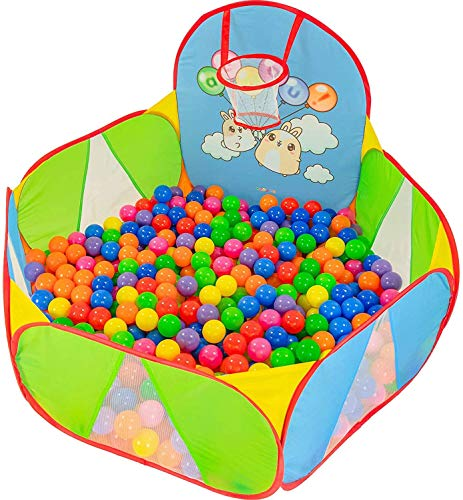 NUBUNI Piscina Palline Canestro Basket : Bambini Recinto per Bambini : Piscina di Palline per Bambini : Parco Giochi Bambini : Giochi Giardino : B Palline Non Incluse