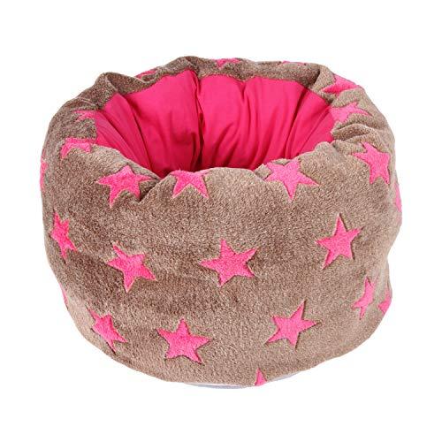 AC-Home Jersey Fleece Hunde-Korb Hunde-Bett Hunde-Kissen Katzen-Korb Mupfel Braun Pink mit Sternen- Made in Germany (Durchmesser 50 cm) (Durchmesser 70cm)