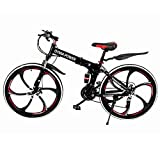 Adult Outroad Mountain Bike, Unisex Folding Outdoor Bicycle, 21 Speed 26in Folding Mountain Bike for Men and Women Outdoor Racing Cycling-【U.S. Shipping】 (A) (A)