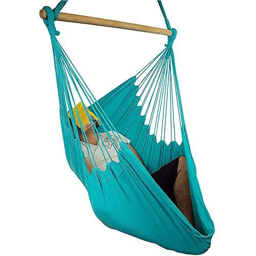 RBH Silla Hamaca Lanyard Swing Chair, Tejido de algodón, excelente Confort y Durabilidad - para Patios, dormitorios, sillas Colgantes para Interiores y Exteriores