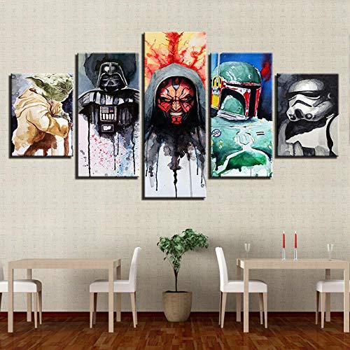 GSDFSD Película Star Wars Impresión de 5 Piezas Material Tejido no Tejido Impresión Artística Imagen Gráfica Decoracion de Pared Abstracto Oriente Cuadros Modernos Imagen