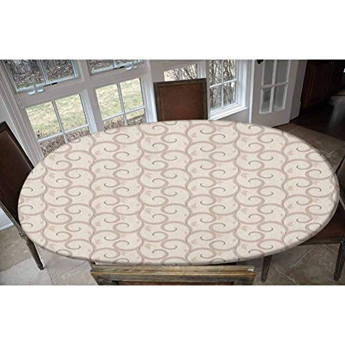 Elastic Polyester Fitted Table Cover,Swirling Leaves Motifs Regular Curved Baroque Floral Design Retro Old World in Mod Art Oblong/Oval Elastic Fitted Tablecloth,Fits Tables up to 48' W x 68' L