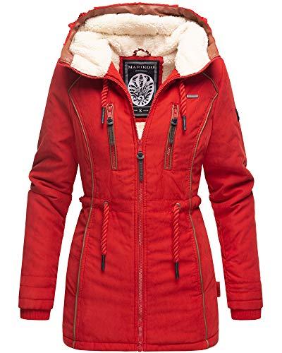 Marikoo Damen Winter Jacke Parka Kurz Mantel Kordel Kapuze Teddyfell Neu Maig31 (M, Rot)