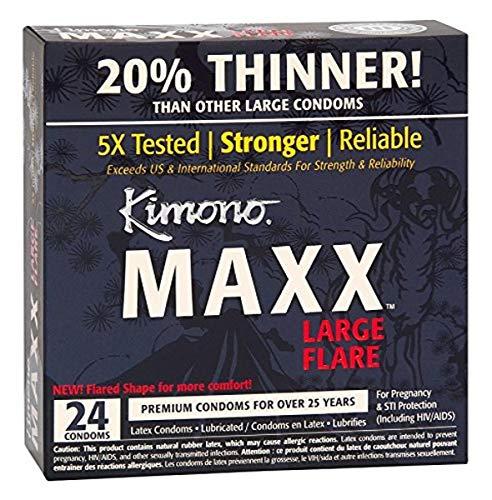 Kimono Condoms Condom Maxx Large Flare, 0.05 Pounds, Black, Unscented, 24.0 Count (Flare Kimono)
