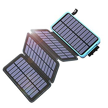 Tranmix Solar Charger 25000mAh Power Bank with 4 Solar Panels Waterproof Battery Pack Phone Charger with Flashlight for iPhone Samsung and Tablets