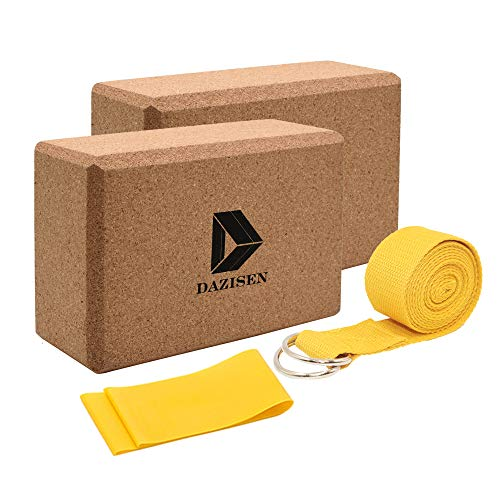 DAZISEN Set Yoga - Antiscivolo Mattone per Palestra Yoga Blocco Sughero Starter Kit,Giallo(Blocchi+Cintura),2*Blocchi+2 Cintura Yoga Stile