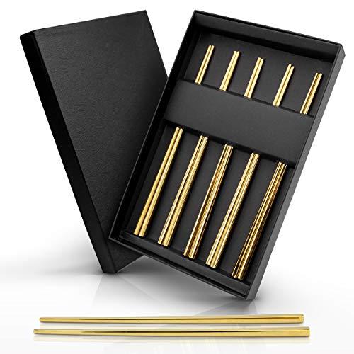 AB Edelstahl Essstäbchen Set 5 Paar 10 Stück | Metall Chopsticks in Restaurant Qualität | Stäbchen perfekt für Sushi, Koreanische, Chinesische, Japanische und Asiatische Küche Gold