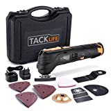 TACKLIFE Outil Multifonction Oscillants sans Fil, Batterie 12V au Li-ION, 6 Vitesses Variables, 5000-15000rpm, avec Changement d'Outil Rapide, Chargeur 100-240V, et 24 Accessoires Fournis, PMT01B