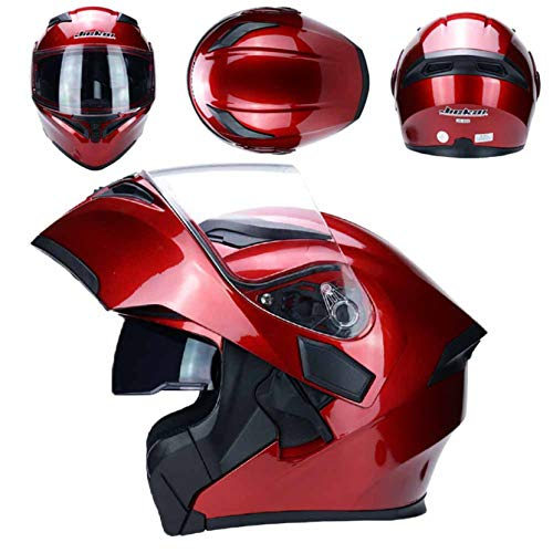 Adult Fashion Motorcycle Helmet Double Lens Flip Up Motocross Racing Safety Caps...