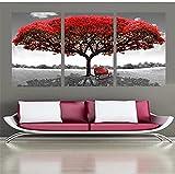 3 piezas lienzo HD impresión pintura pared arte cartel rojo árbol arte paisaje imágenes Modular decoración del hogar para sala de estar 50x70cm