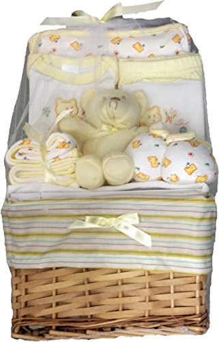 Big Oshi Baby Essentials 10 Piece Layette Basket Gift Set, Yellow, 0-6 Months