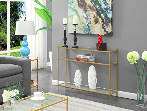 Convenience Concepts Royal Crest Console Table, Clear Glass / Gold
