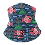 Pasamontañas unisex con diseño de peces de mar submarinos, unisex, resistente al viento, reutilizable, bufanda, bufanda, gorro protector de gorra, diadema negra