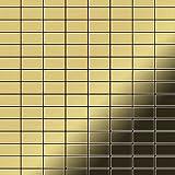 Azulejo mosaico de metal sólido Latón laminado oro 1,6 mm de grosor ALLOY Bauhaus-BM 1,05 m2