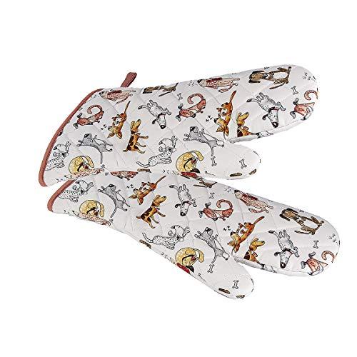Backhandschuhe Hitzebestaendig, Topfhandschuhe Ofenhandschuhe Lang mit Lustige Hund Motiv, Geschenk für Frauen Damen und Männer