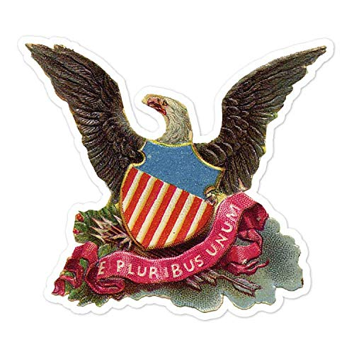 "American Eagle E Pluribus Unum - Vintage Holiday Painting - Vinyl Decal Sticker - 4.2"" x 3.75"""