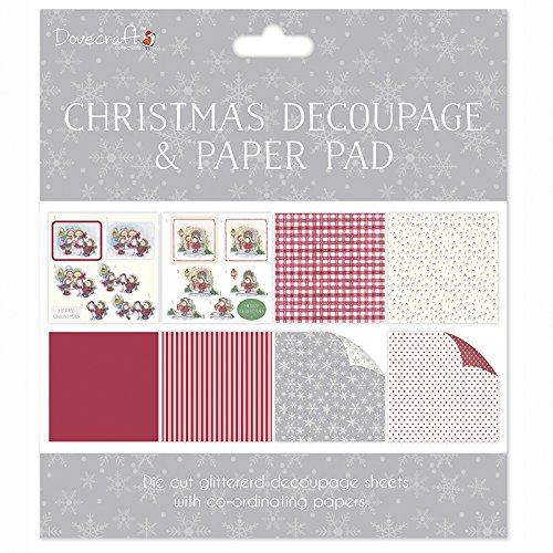 Dovecraft Decoupage Pad 8x8 Christmas Green Die Cuts Glitter Paper Scrapbook