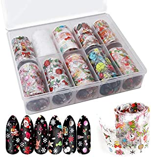 Leipple Christmas Nail Foil Transfer Stickers 4000 PCS (10 Rolls) - Acrylic DIY Nail Art Decals Decorations - Snowflakes Snowmen Santa Nails Accessories