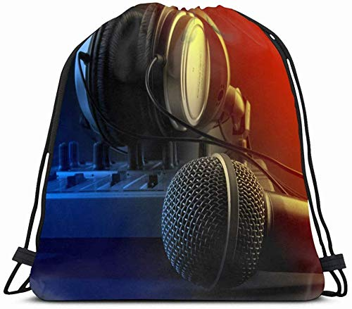 DHNKW Drawstring Backpack String Bag 14X16 Production Microphone Mixer Headphones Music Studio Dj Technology Radio Console Sound Board Equipment Media Sport Gym Sackpack Hiking Yoga Travel Beach