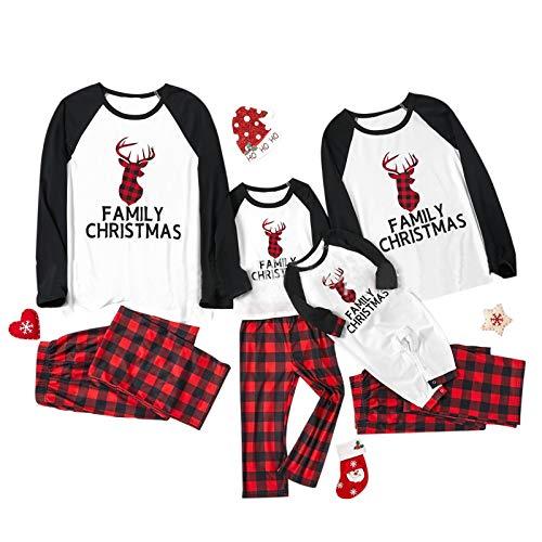 Dasongff Weihnachten Familie Outfit Set Matching Lange Ärmel Bluse + Plaid Lange...