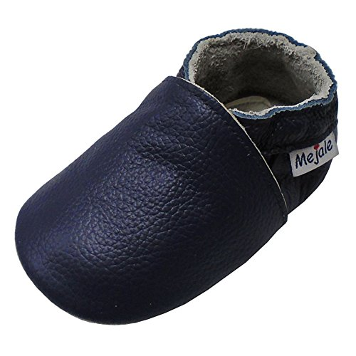 Mejale Chaussons Cuir Souple Chaussures Cuir Souple Chaussons enfants pantoufles Chaussures Premiers Pas, Bleu Marine, 12-18 mois
