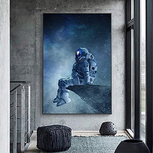 wZUN Un Astronauta artístico Solitario Sentado en un Lienzo en el Espacio Pinta Carteles e Imprime imágenes murales para la decoración del Dormitorio 60X90 Sin Marco
