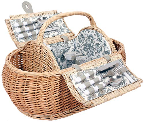 4 Personen Weiden Picknickkorb Picknickkoffer Set Kühltasche, Besteck,
