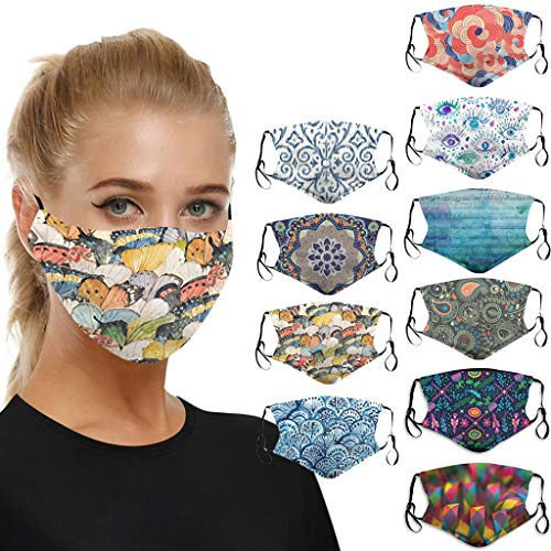 JSPOYOU 10 pc Mouth for Dust Protection Anti Face Washable Earloop