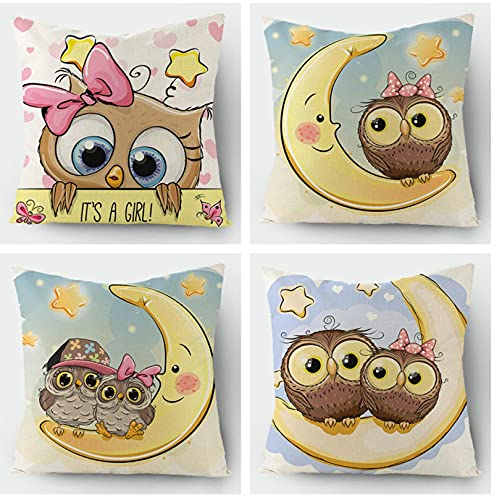 KaiXINSun Throw Pillow Cases Paquete De 4 Funda De Almohada De 18X18 Pulgadas Funda De Sofá Decorativa De Casa Cuadrada Cremallera Invisible 45X45Cm Búho De Luna