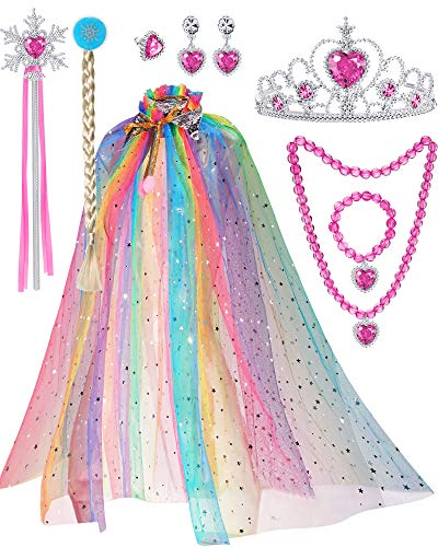 8PiecesPrincessCapeCloakCostumesfor Little Girl Party Cosplay (Colorful)