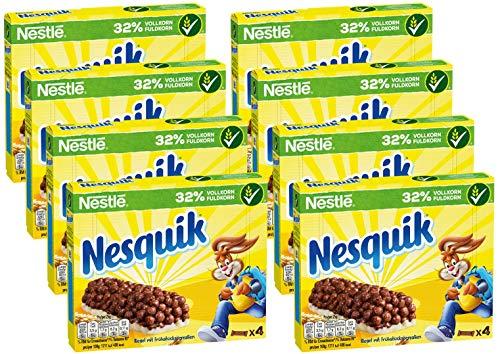 Nestlé NESQUIK Riegel, Cerealien mit Vollkorn-Weizen & Kakao, Müsli-Riegel To Go, mit Calcium, 8er Pack (8 x (4 x 25g))