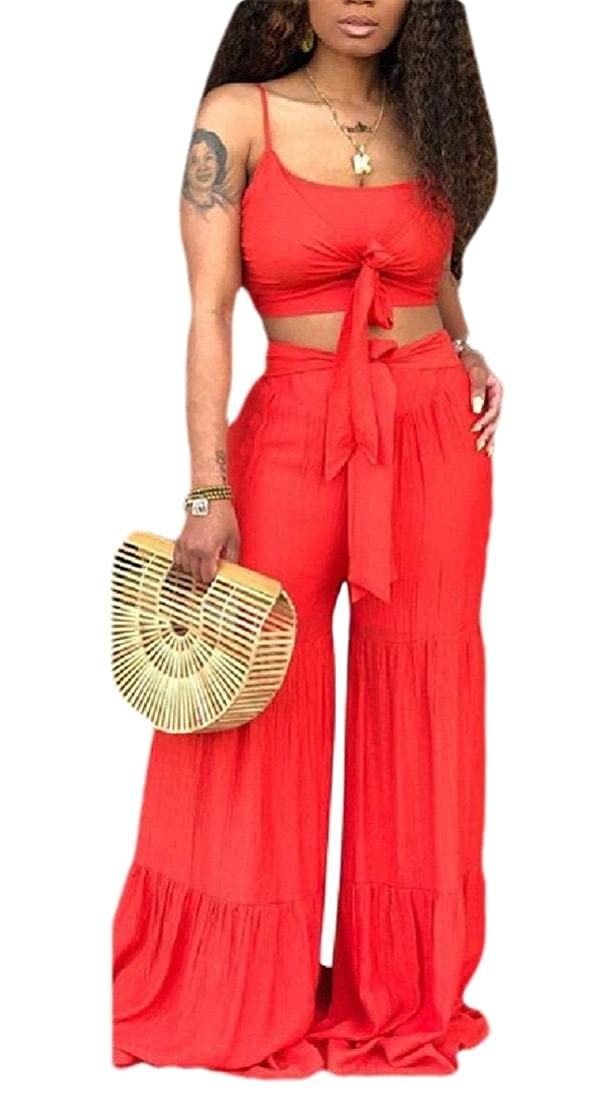 類推行列ゲストWomen Sexy 2 Piece Outfit Short Sleeve Tie Knot Crop Top Long Wide Leg Pants Jumpsuit
