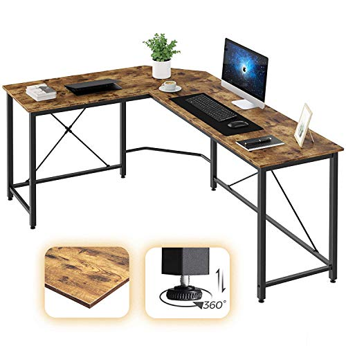 Oneinmil L Shaped Computer Desk, Sturdy Office Home Study Writing Table Space Saving Small Space,...