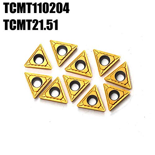 OSCARBIDE Carbide Turning Inserts TCMT110204(TCMT21.51) TCMT Insert Tain Coated CNC Lathe Inserts for Lathe Turning Tool Holder Replacement Insert, 10 Pieces