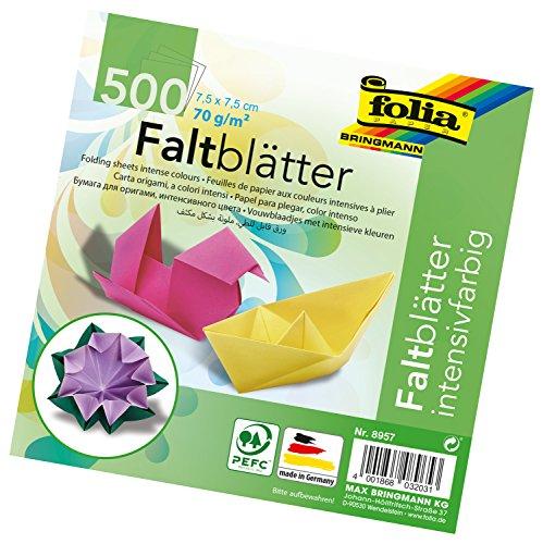 folia 8957 - Faltblätter 7,5 x 7,5 cm, 70 g/qm, 500 Blatt sortiert in 10 intensiven Farben - ideal zum Papierfalten und für andere kreative Bastelarbeiten
