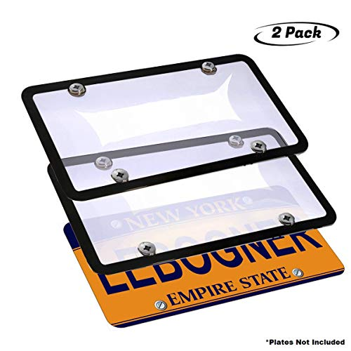 lebogner Car License Plates Shields and Frames Combo, 2 Pack Clear Bubble Design Novelty Plate Covers to Fit Any Standard US Plates, Unbreakable Frame & Covers to Protect Plates, Screws Included