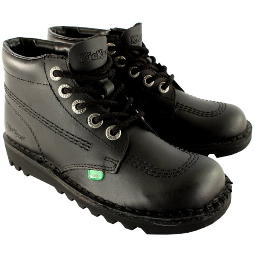 Kickers Womens Kick Hi Classic Leather Office Work Ankle Boots Shoes - Black/Black - 10.5