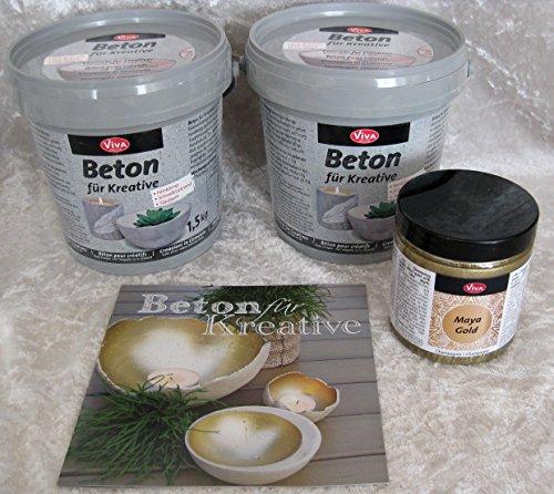 Set Viva Decor Beton 3kg für Kreative + Maya gold Farbe champagner 250ml für Lichtkugel Leuchtkugel Betonschalen