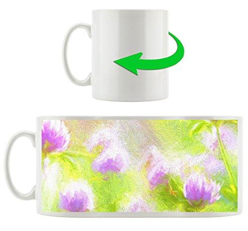 Zarte Kleeblüten im Gras gemalt, Motivtasse aus weißem Keramik 300ml, Tolle Geschenkidee zu jedem Anlass. Ihr neuer Lieblingsbecher für Kaffe, Tee und Heißgetränke.