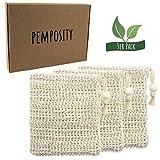 PEMPOSITY Sisal Seifensäckchen Natur - Seifenbeutel Bio für Körper-Peeling - 100% plastikfrei &...