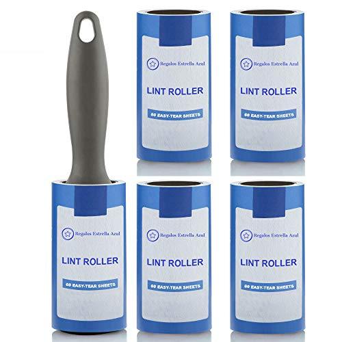 Rodillo quitapelusas para Pelo de Mascotas y Pelusas. Set Compuesto de 1 Rodillo quitapelos y 5 Rollo quitapelusas Cabezales de Repuesto.