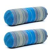 Leewadee Set de 2 Yoga bolsters Grandes – Almohadas tailandesas de kapok Natural, Cojines alargados para Pilates, 65 x 25 x 25 cm, Set de 2, Azul Claro