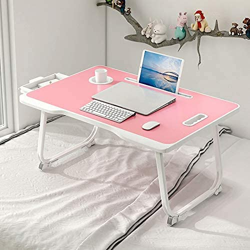 CHARMDI Laptop Bed Table, Portable Laptop Bed Tray Table, Lap Desk,Couch Table,Bed Desk,Laptop Desk Table with Handle & Desktop Card Slot & Cup Slot & Side Drawer for Bed/Sofa- Pink