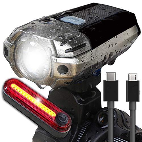 FAPROL Fietslamp, mountainbike, helm voor voor- en achterlicht, USB-oplader, waterdicht, volautomatisch uitschakelen met 300 lumen