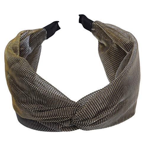 SUNSKYOO Diademas turbantes para el pelo, bandas deportivas, sin deslizamiento, para mujeres y niñas, color negro y dorado