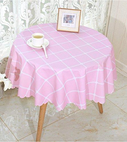 Facile Rustique Look Plaid Vinyle Ronde Table Couverture, PVC imperméable à l'huile Anti-Huile Nettoyer Toile cirée pour Cafe 135cm (Color : Pink)